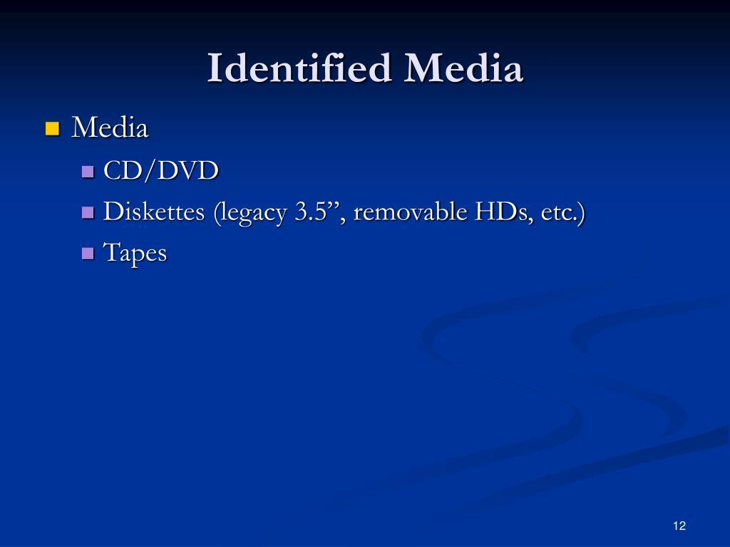 Identified Media