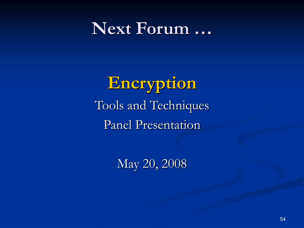 Next Forum …