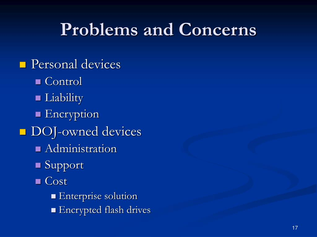 Problems and Concerns