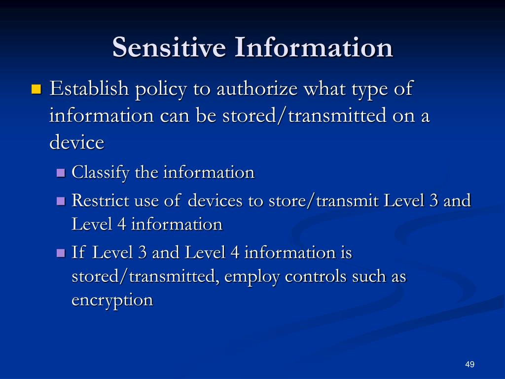 Sensitive Information
