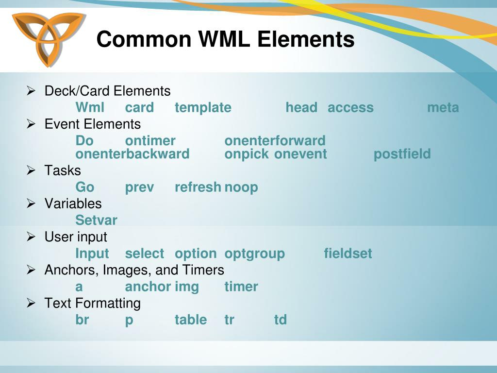 Common WML Elements