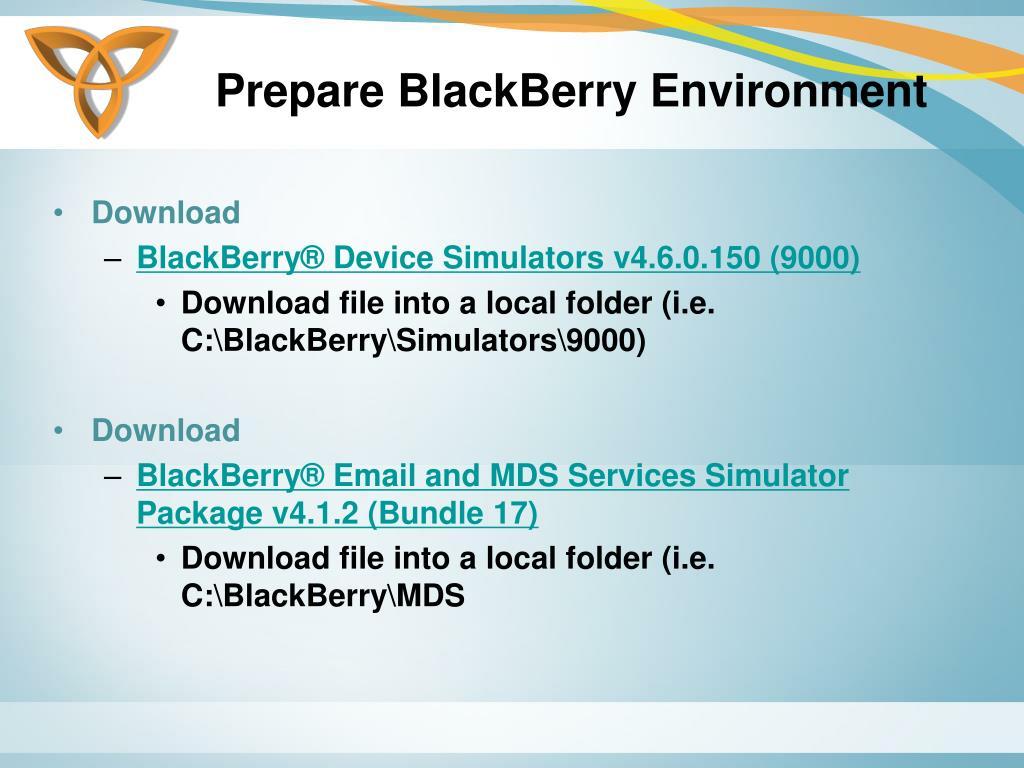 Prepare BlackBerry Environment