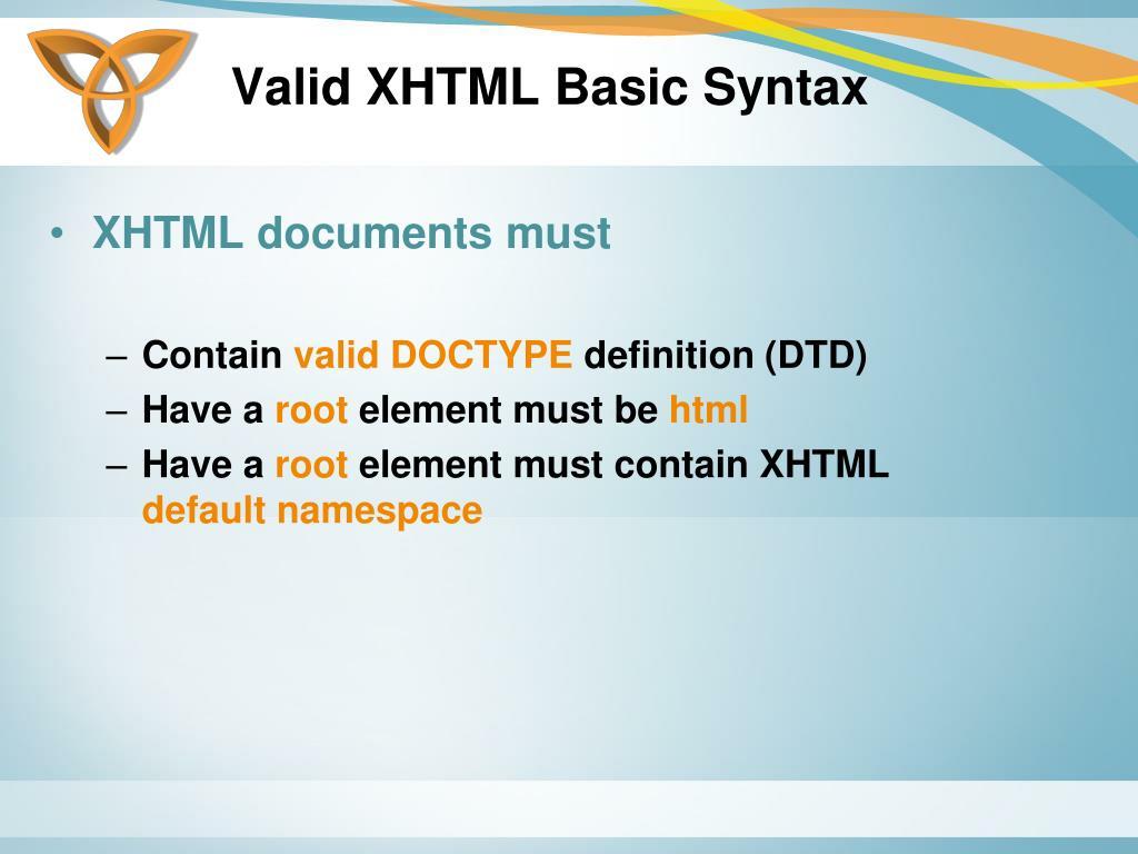 Valid XHTML Basic Syntax