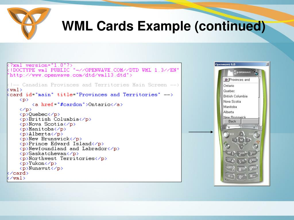 WML Cards Example (continued)