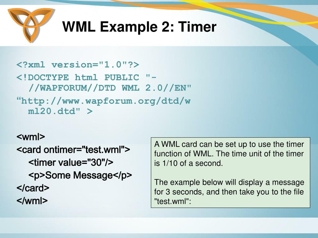WML Example 2: Timer