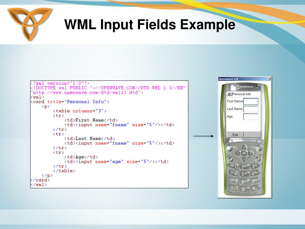 WML Input Fields Example