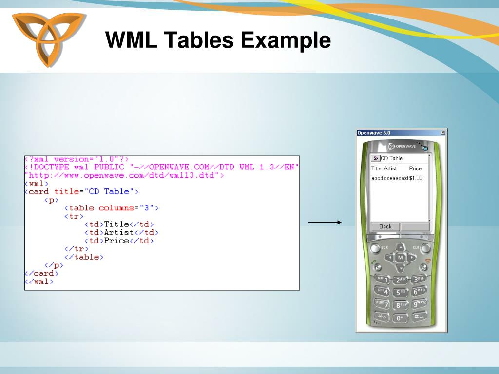 WML Tables Example