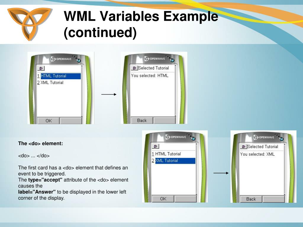 WML Variables Example (continued)