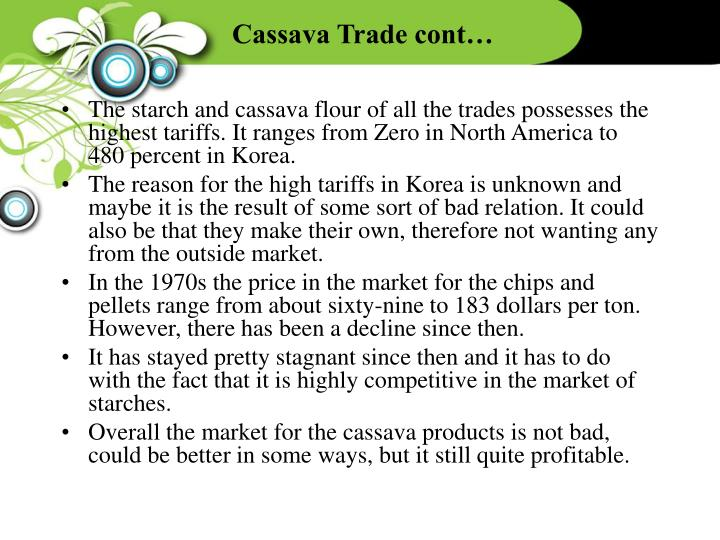 Cassava Trade cont…