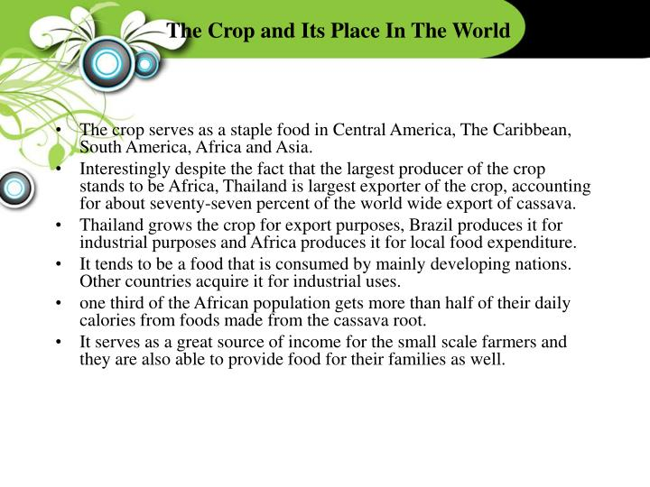 The Crop and Its Place In The World