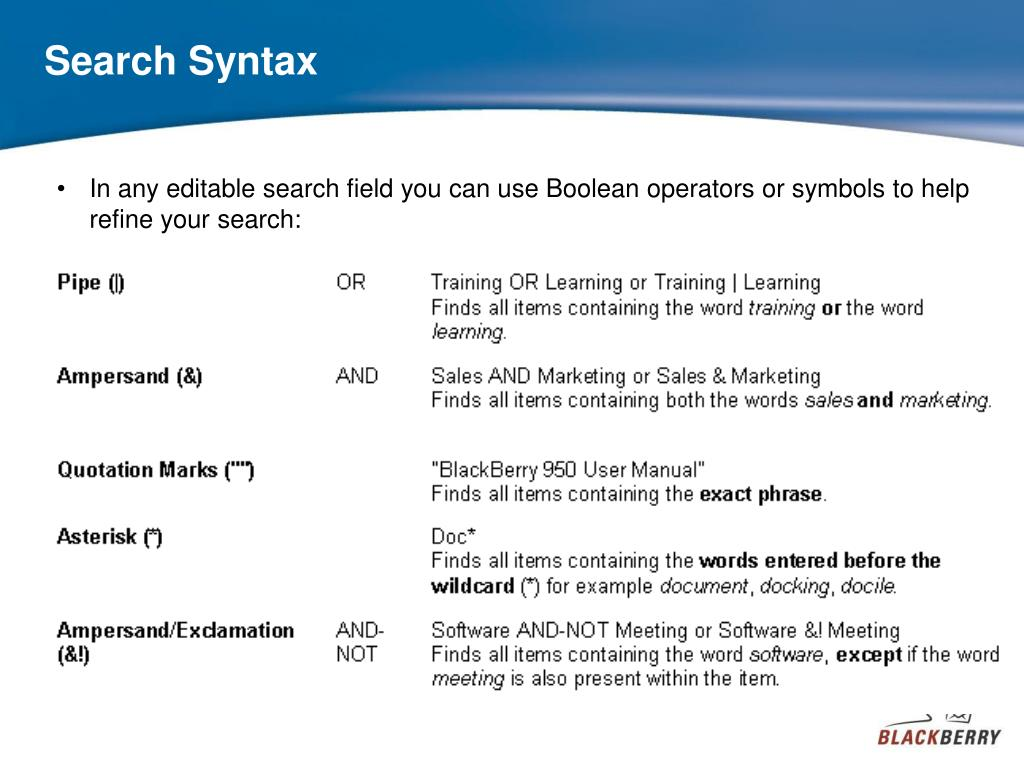 Search Syntax