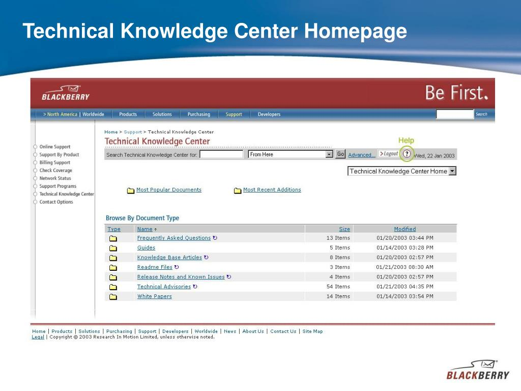 Technical Knowledge Center Homepage
