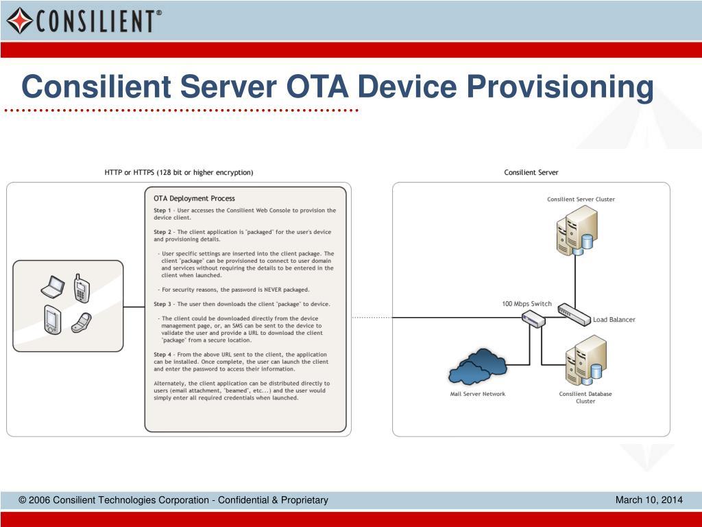 Consilient Server OTA Device Provisioning