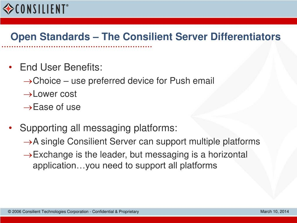 Open Standards – The Consilient Server Differentiators