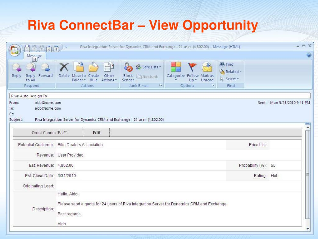 Riva ConnectBar – View Opportunity