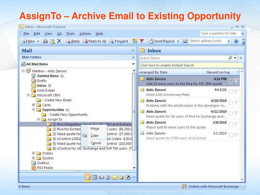 AssignTo – Archive Email to Existing Opportunity