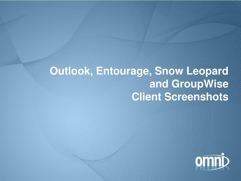 Outlook, Entourage, Snow Leopard
