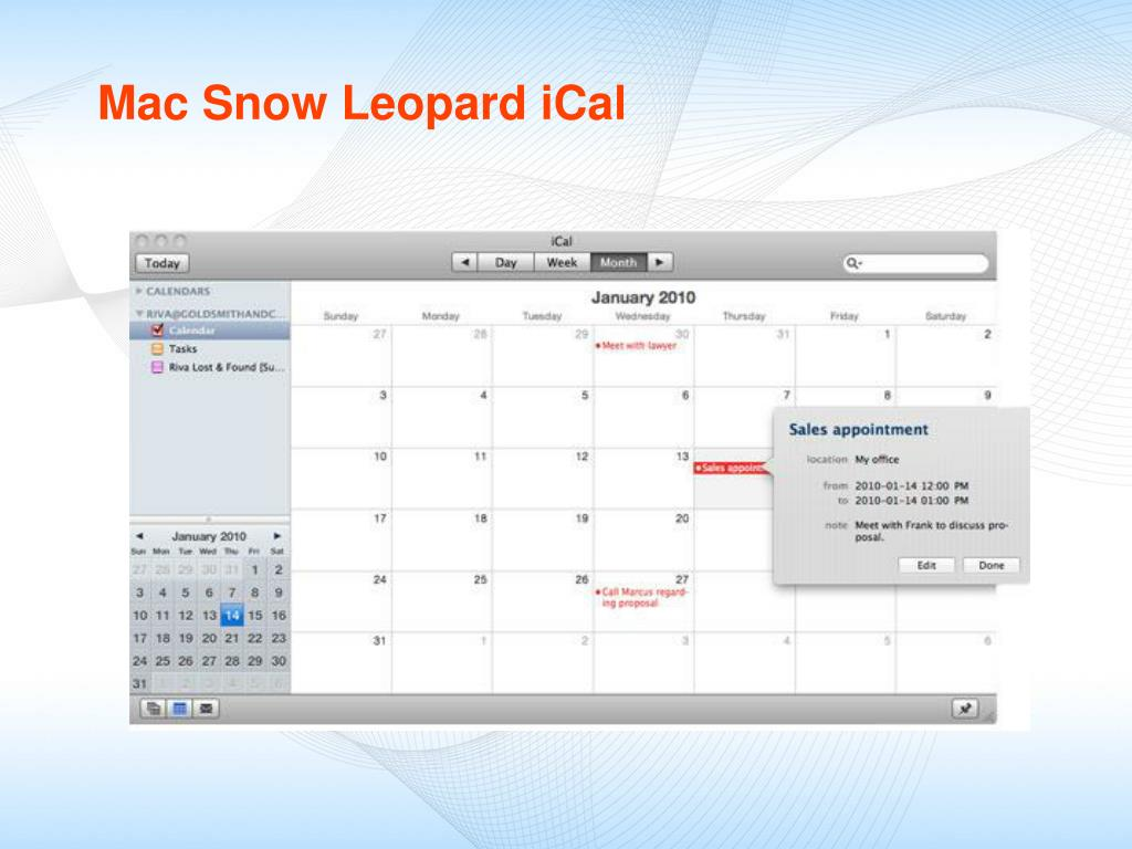 Mac Snow Leopard iCal