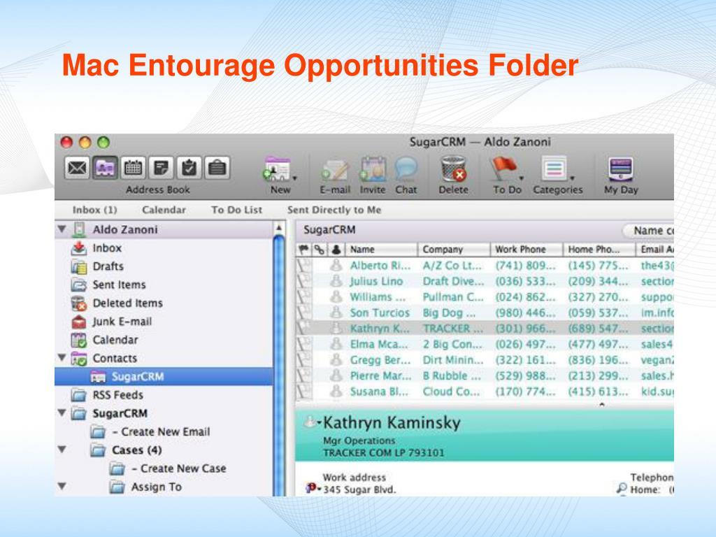 Mac Entourage Opportunities Folder