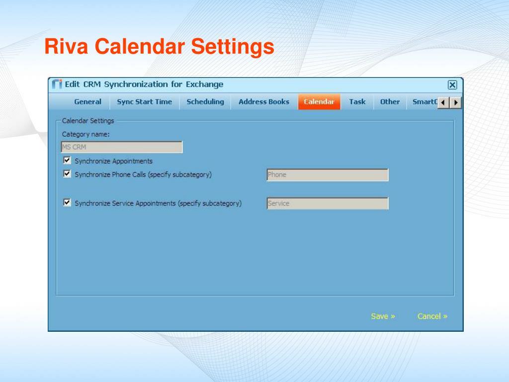 Riva Calendar Settings