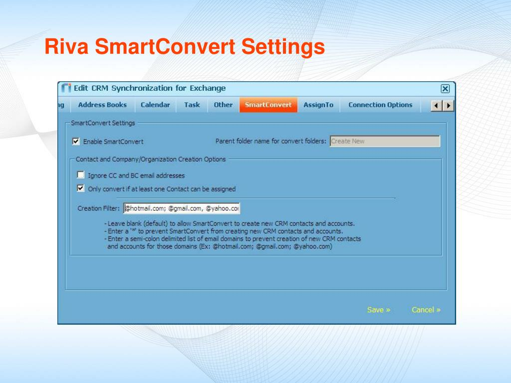 Riva SmartConvert Settings