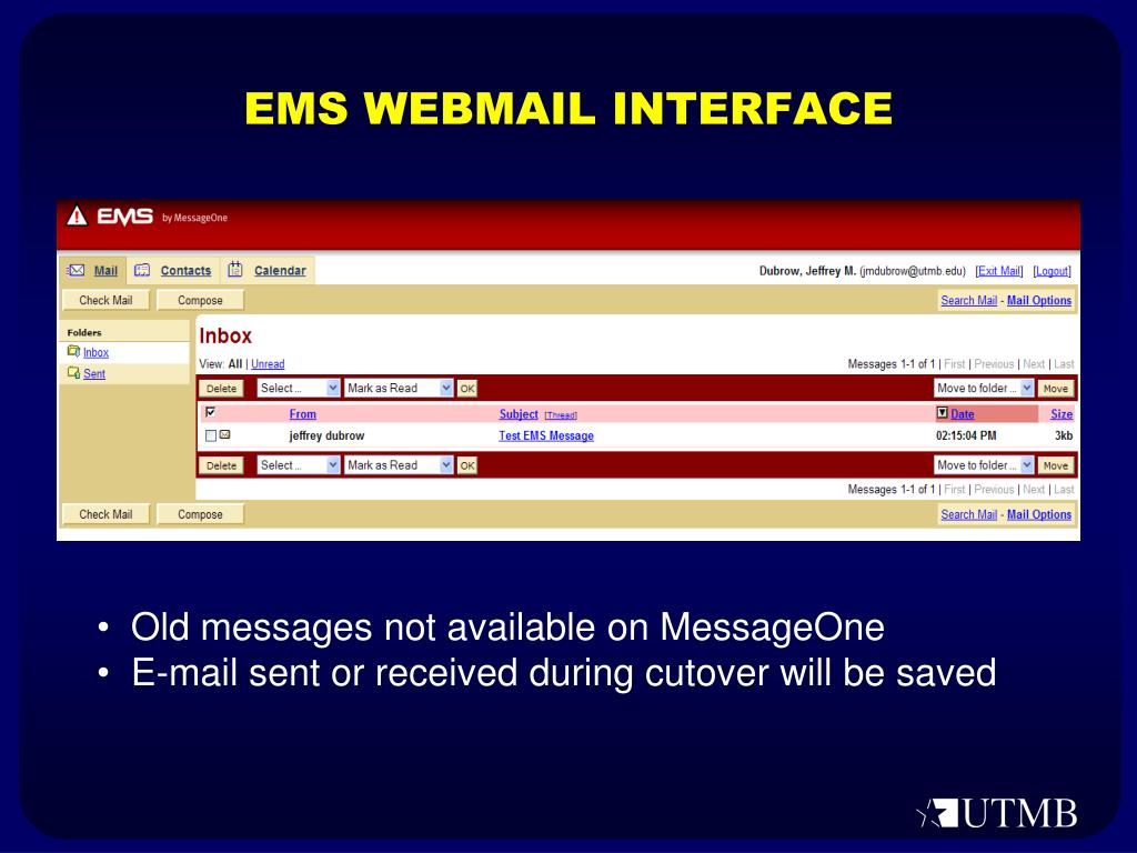 EMS WEBMAIL INTERFACE