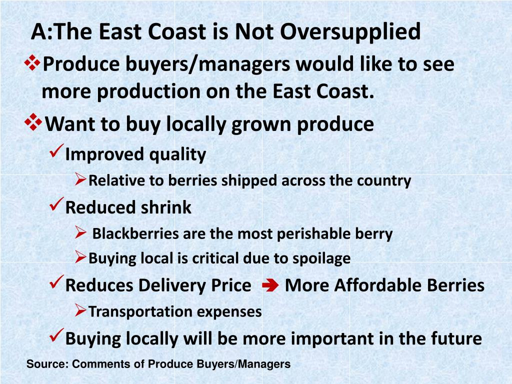 A:The East Coast is Not Oversupplied