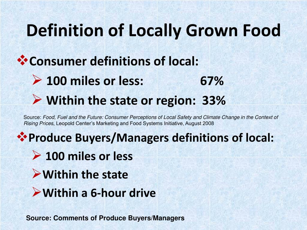 Definition of Locally Grown Food