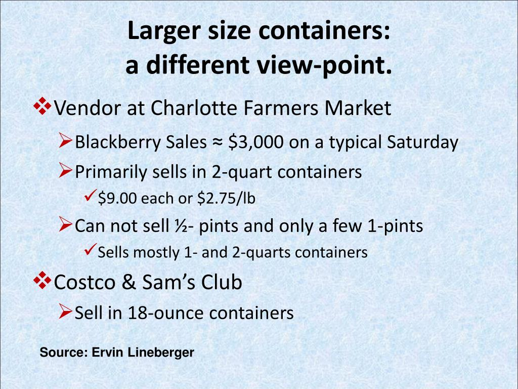 Larger size containers: