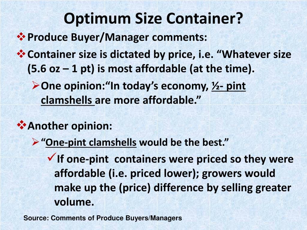 Optimum Size Container?