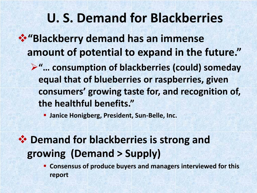 U. S. Demand for Blackberries