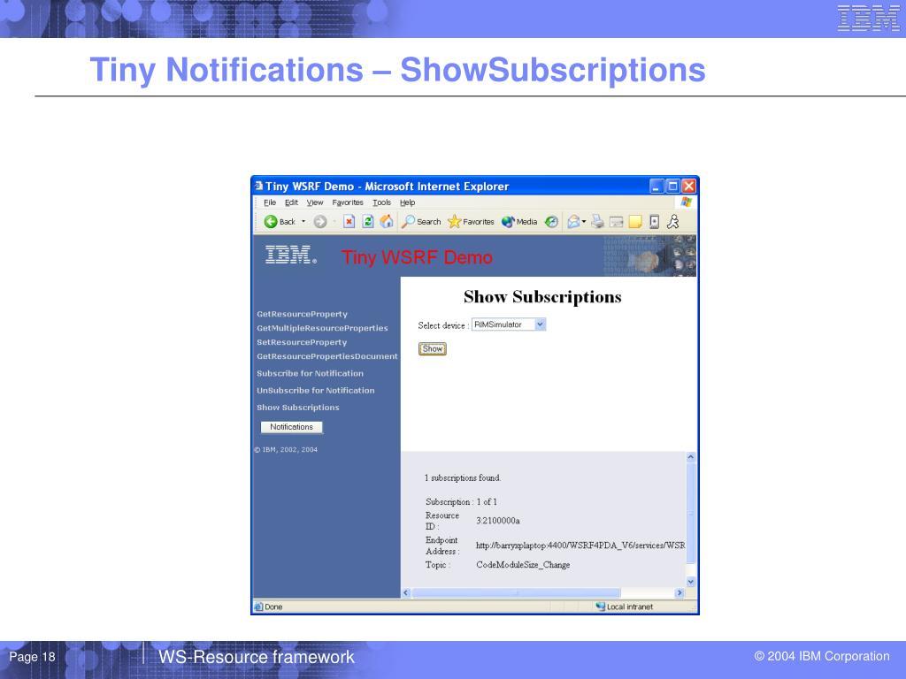 Tiny Notifications – ShowSubscriptions