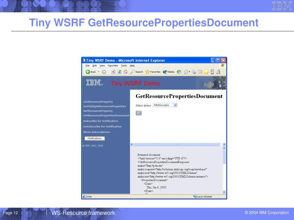 Tiny WSRF GetResourcePropertiesDocument