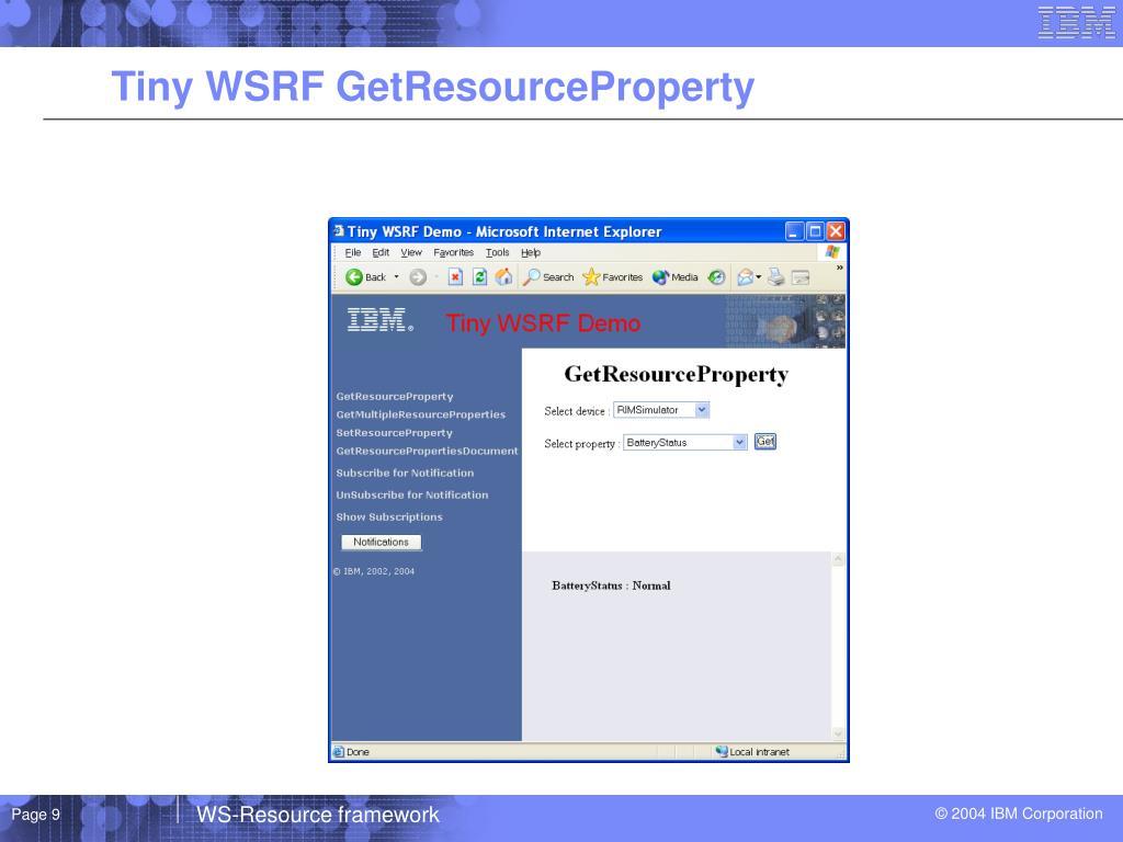Tiny WSRF GetResourceProperty