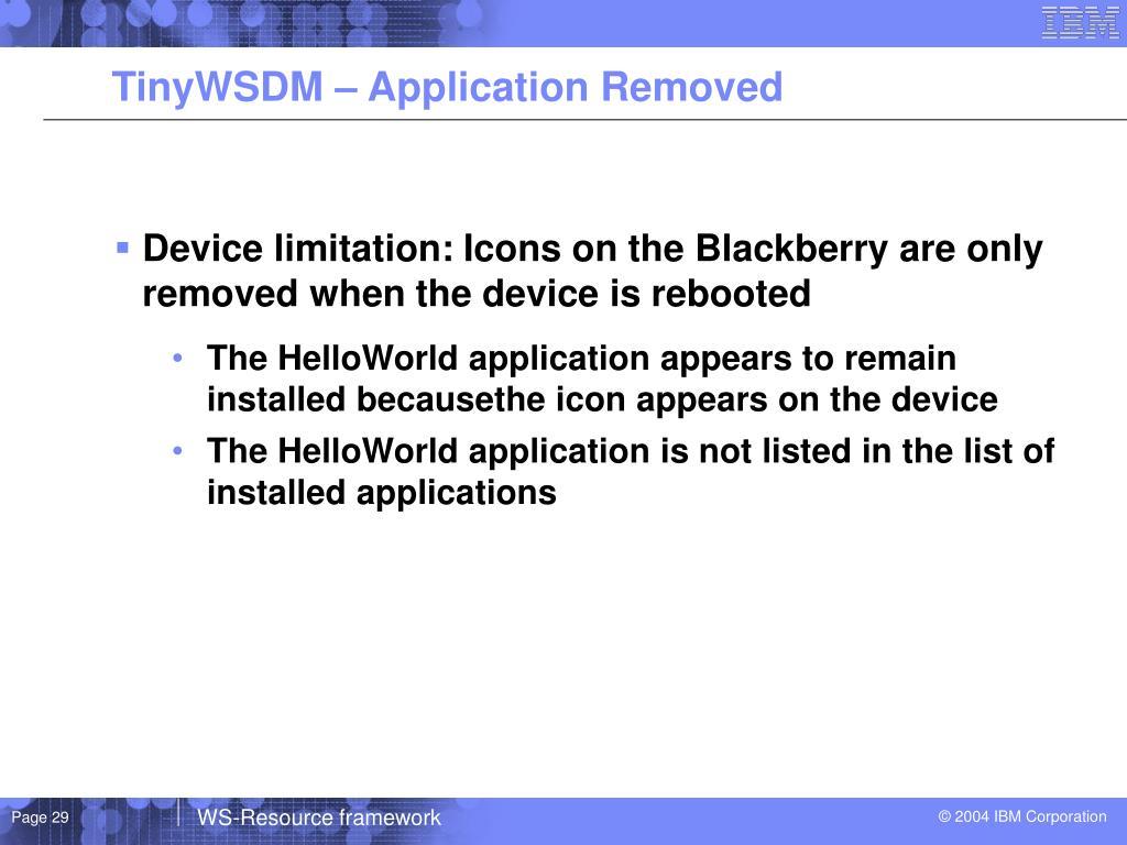 TinyWSDM – Application Removed