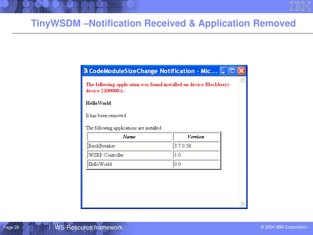 TinyWSDM –Notification Received & Application Removed