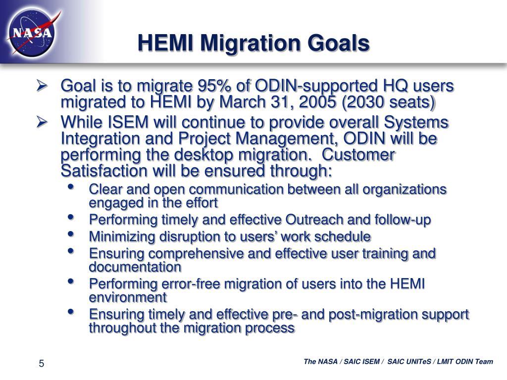 HEMI Migration Goals