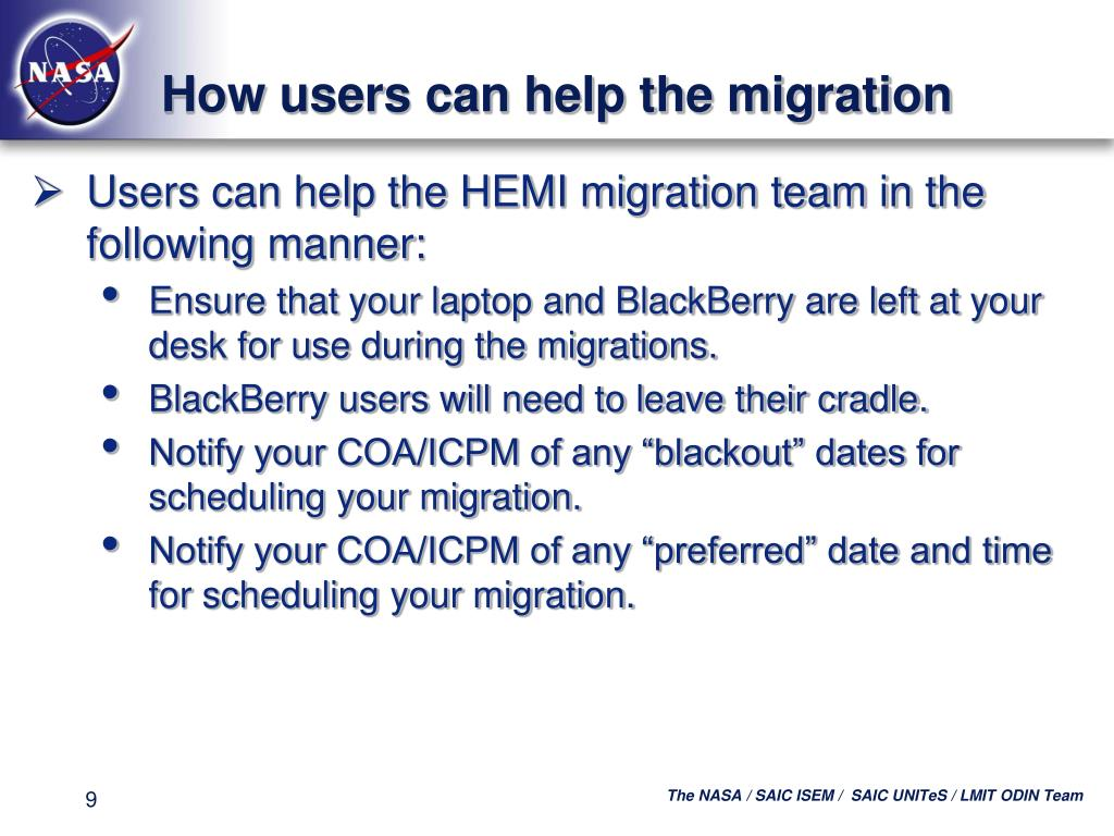 How users can help the migration