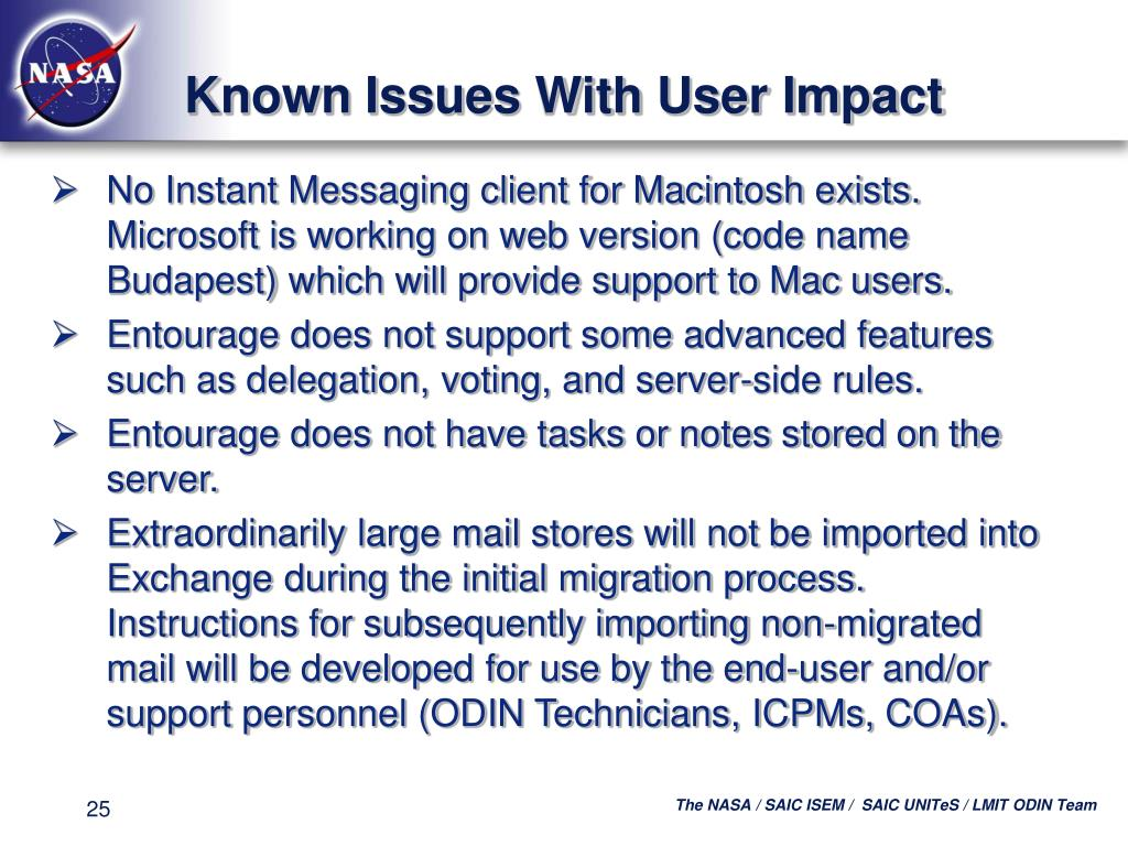 Known Issues With User Impact