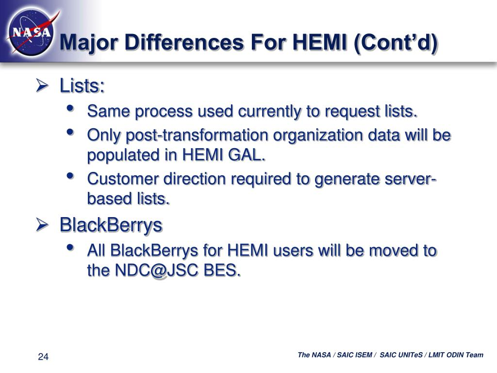 Major Differences For HEMI (Cont'd)