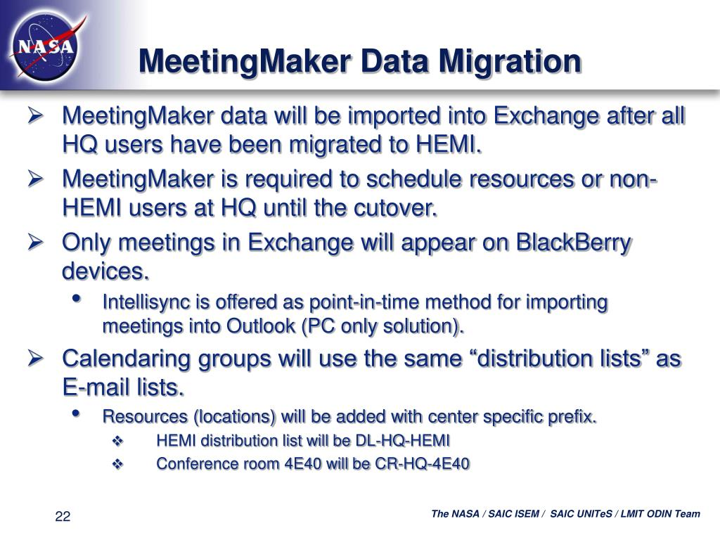 MeetingMaker Data Migration