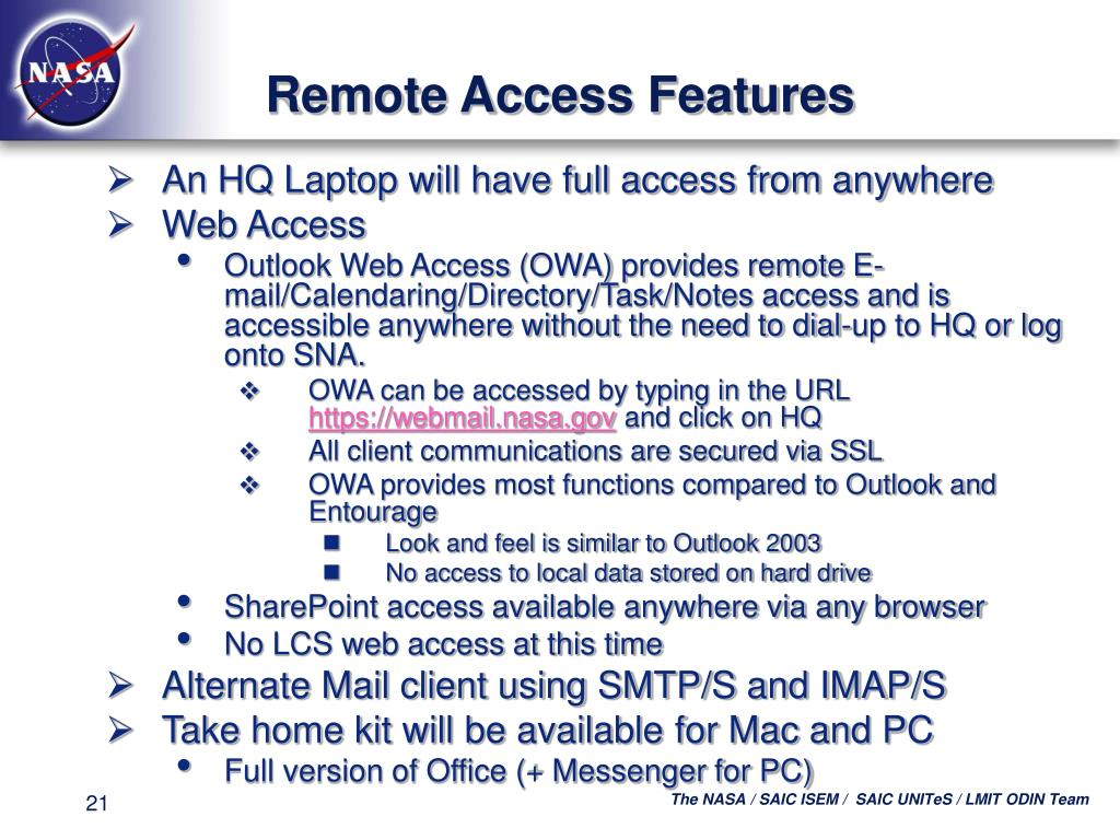 Remote Access Features