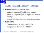 nag parallel library design