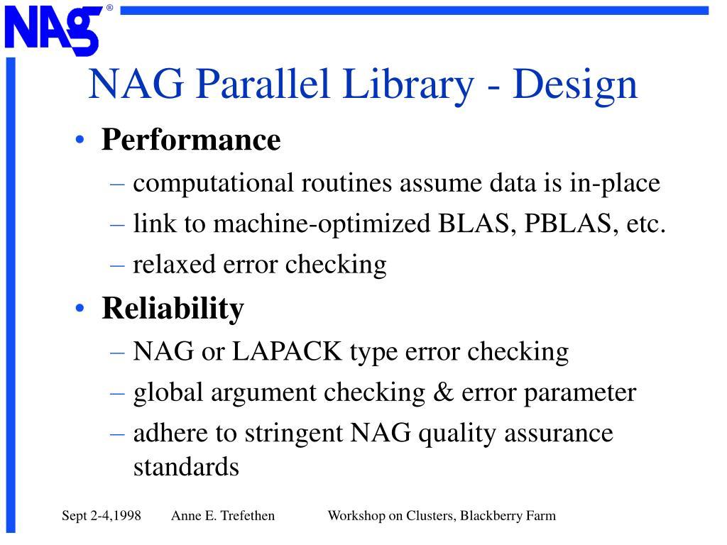 NAG Parallel Library - Design