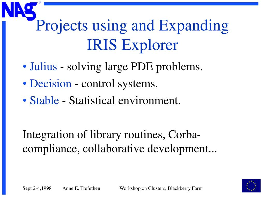 Projects using and Expanding IRIS Explorer