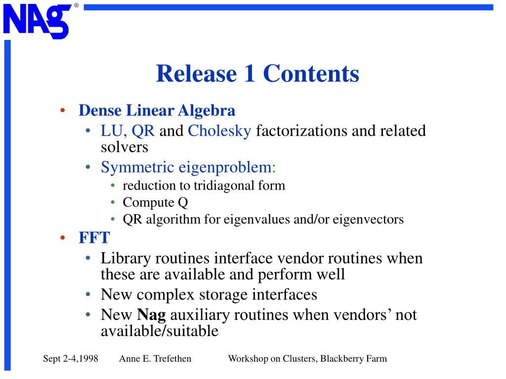 Release 1 Contents