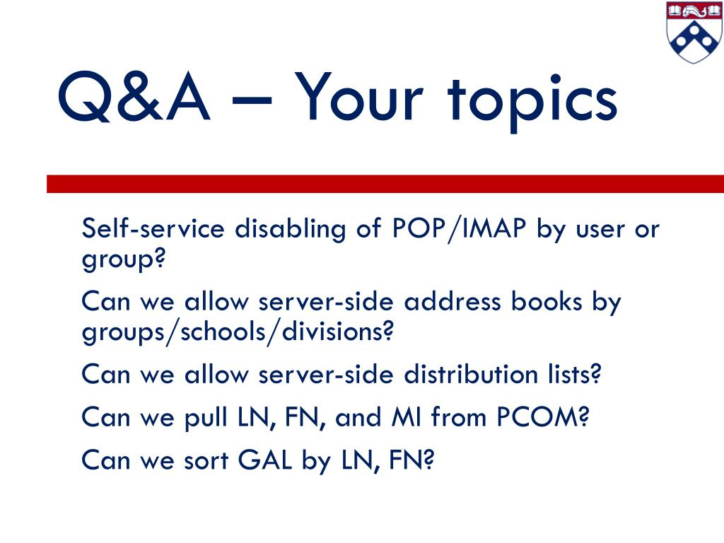 Q&A – Your topics