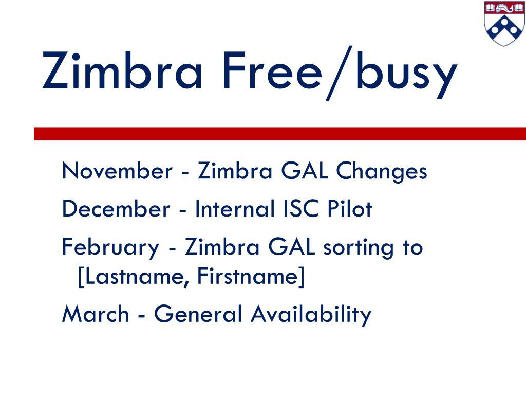 Zimbra Free/busy