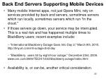 back end servers supporting mobile devices