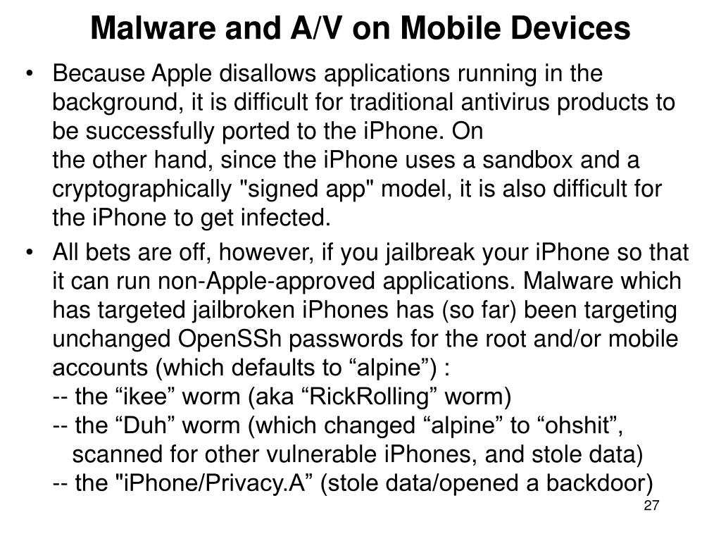 Malware and A/V on Mobile Devices